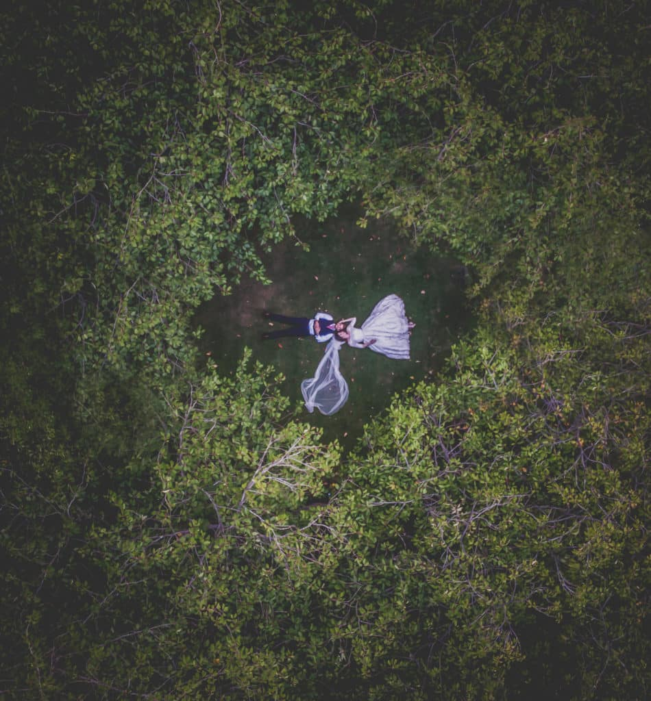 Drone shot of Bride and Groom from above lying on the grass, through the trees at Hazelwood Castle, West Yorkshire