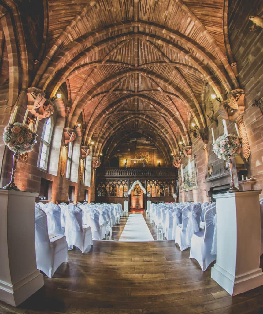 The vaulted ceilings in the great Hall at Peckforton Castle in Cheshire