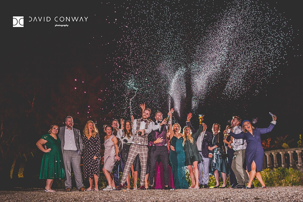 Champagne-shot-with-bridal-party-Wedding-Photographer-Great-Hall-at-mains-LGBT-03
