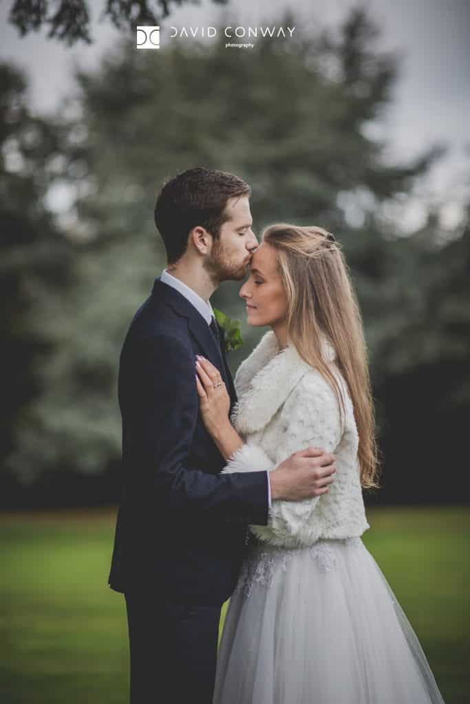 Bride and groom romantic Hazlewood Castle wedding photograph
