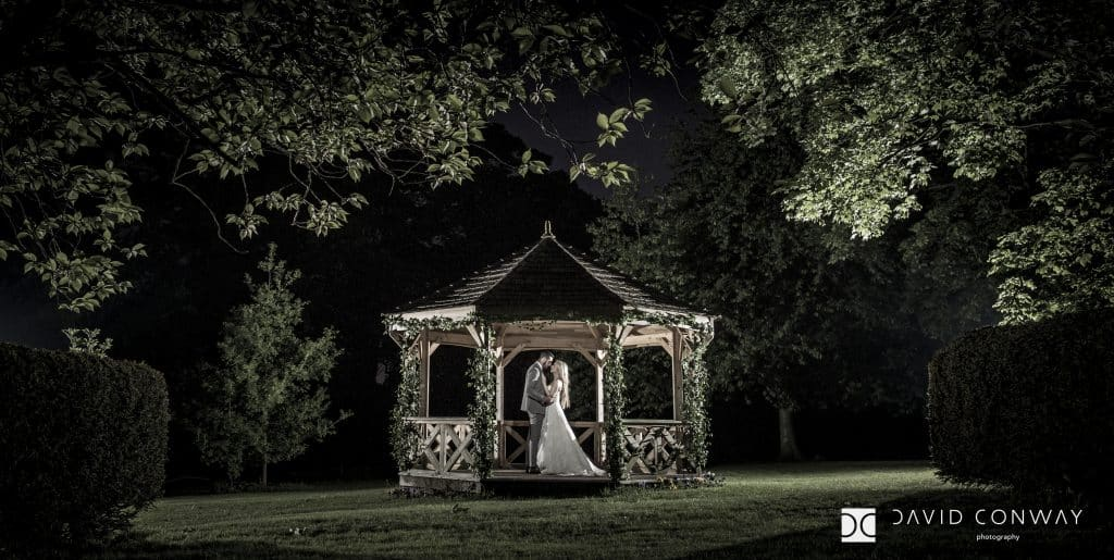 Bride and groom in Pogoda at Hazlewood Castle