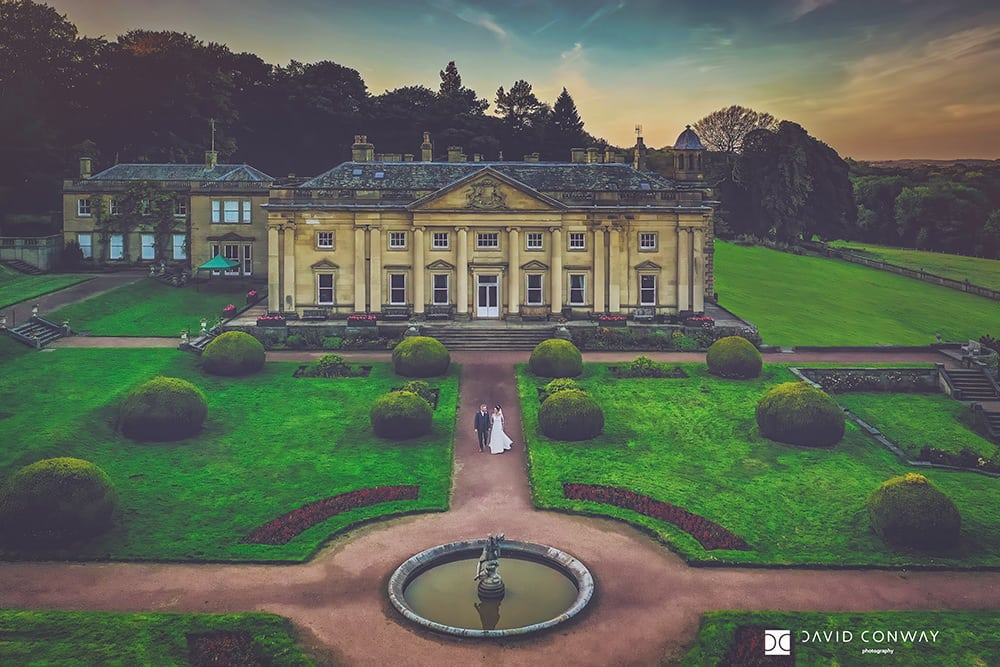 Drone-shot-of-bride-and-groom-at-wortley-hall