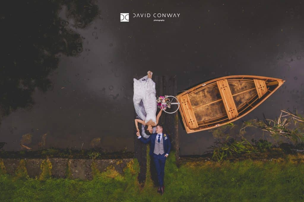 Drone-photograp-of-bride-and-groom-by-west-yorkshire-wedding-photographer